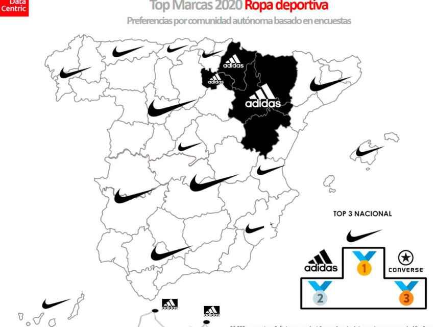 El mapa de las marcas favoritas de ropa deportiva en España en 2020.