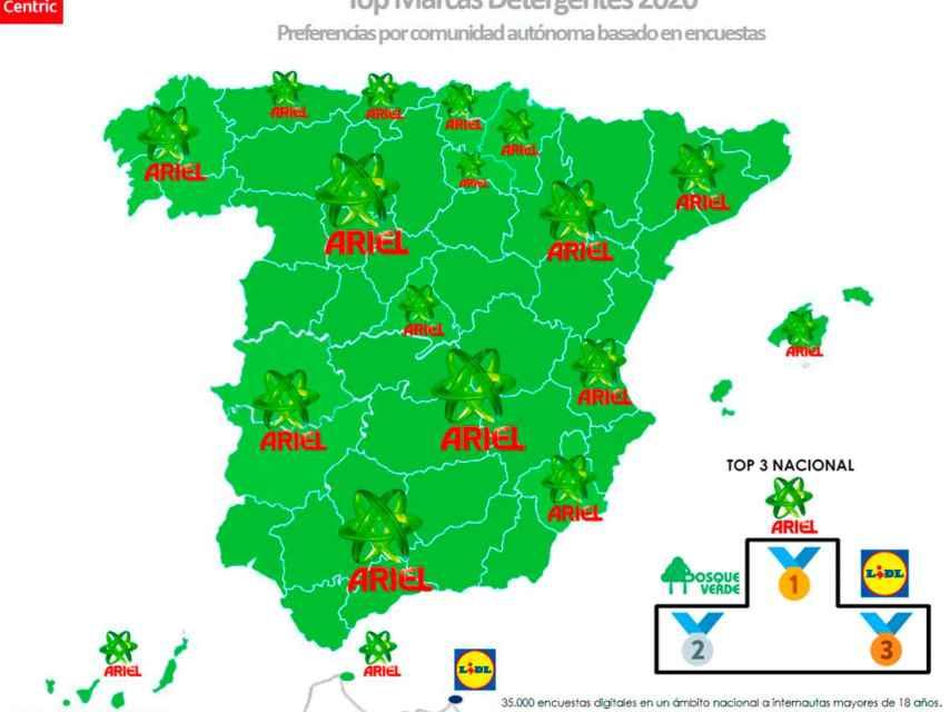 El mapa de las marcas favoritas de detergentes en España en 2020.