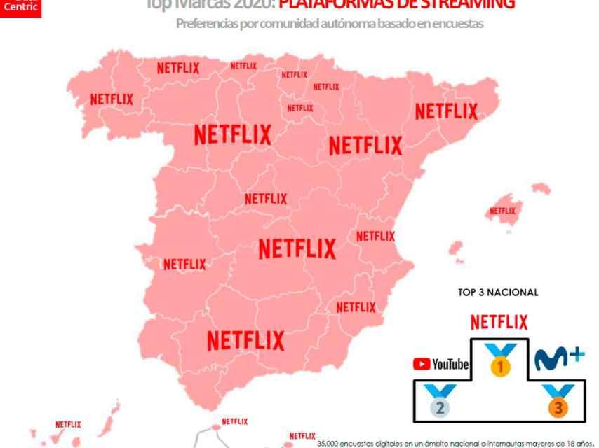 El mapa de las marcas favoritas de plataformas de 'streaming' en España en 2020.