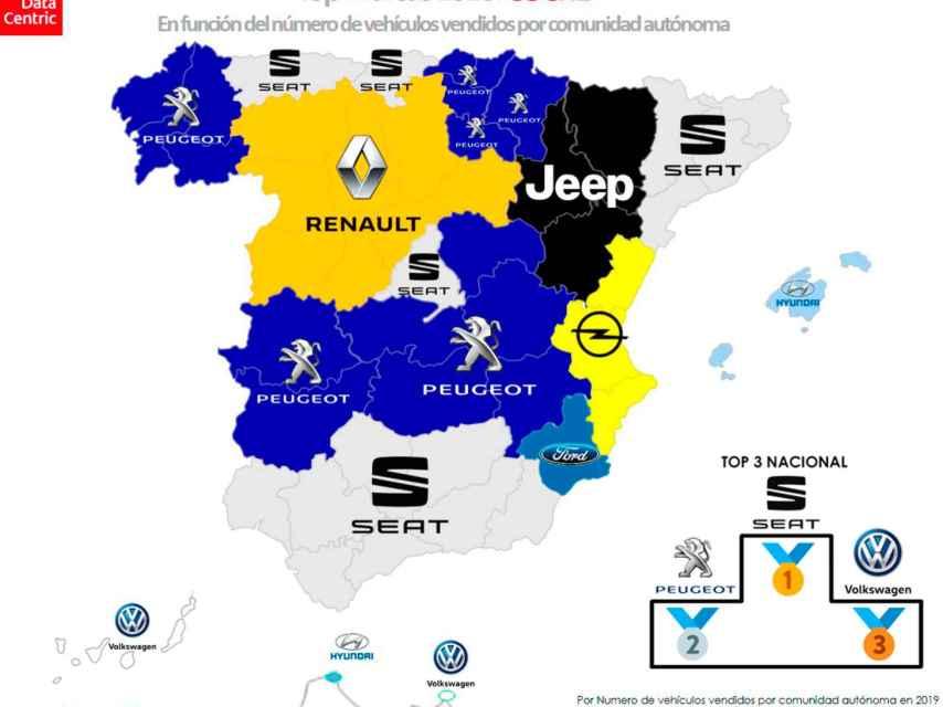 El mapa de las marcas de coche más vendidas por comunidades autónomas en 2020.