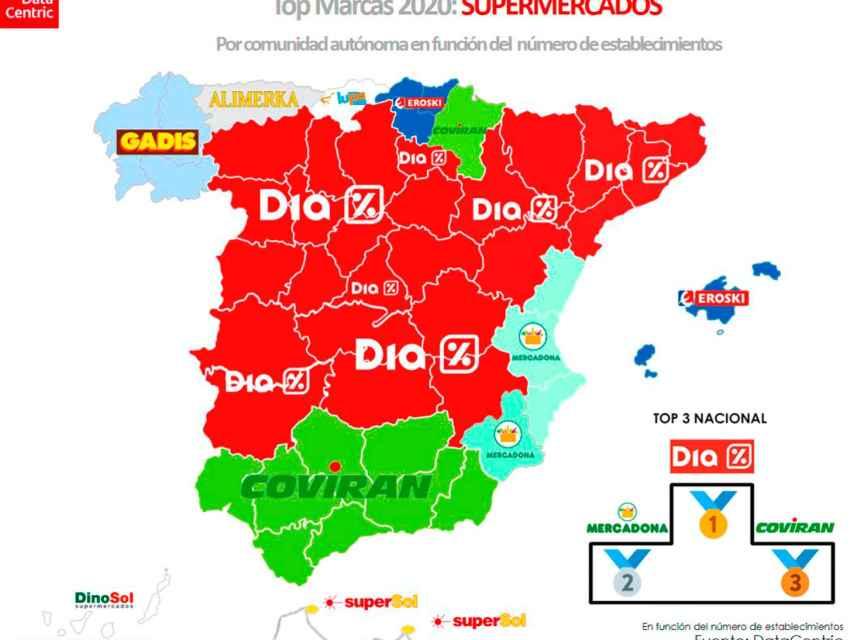 El mapa de las marcas con más número de supermercados en España en 2020.