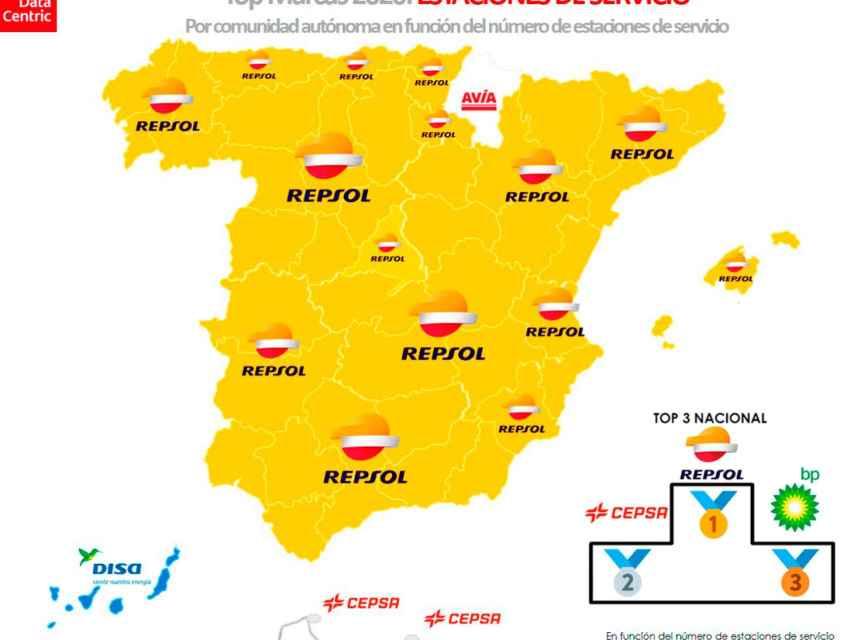 El mapa de las marcas con más número de gasolineras en España en 2020.