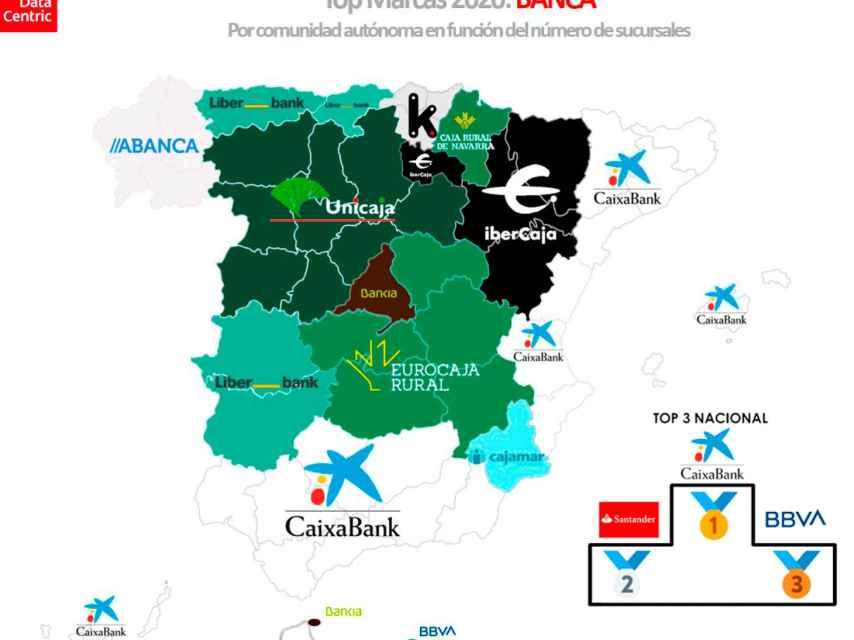 El mapa de los bancos con más sucursales por comunidades autónomas en 2020.