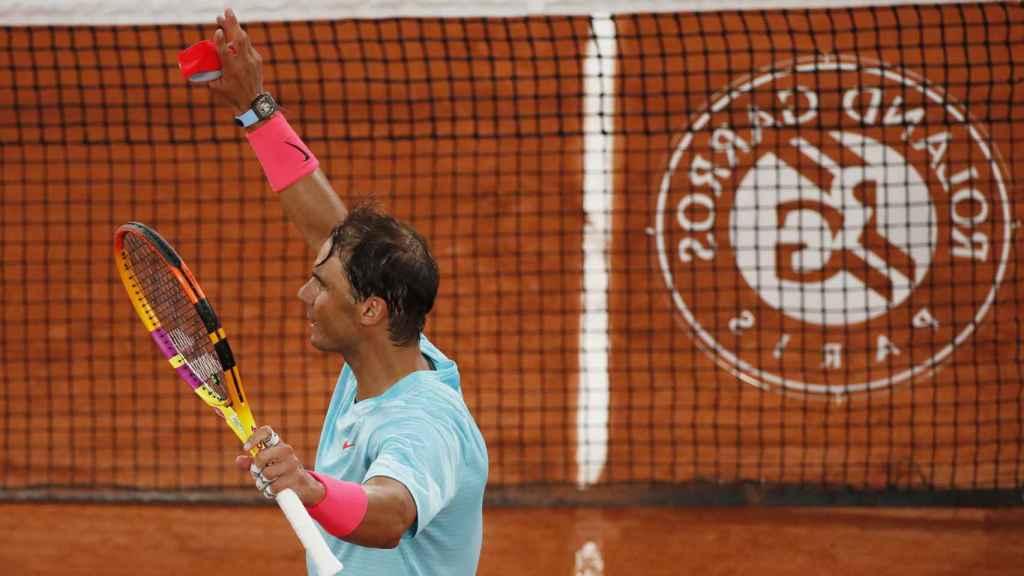 Rafa Nadal celebra su victoria en la primera ronda de Roland Garros 2020