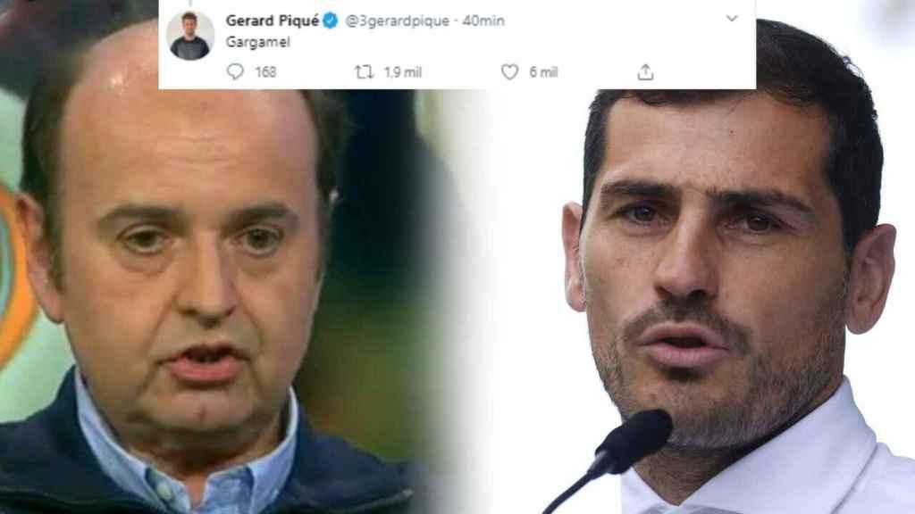 Juanma Rodríguez e Iker Casillas, junto al tuit de Piqué