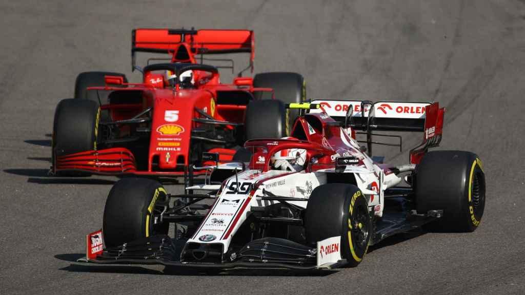 Vettel sufre para adelantar a Giovinazzi