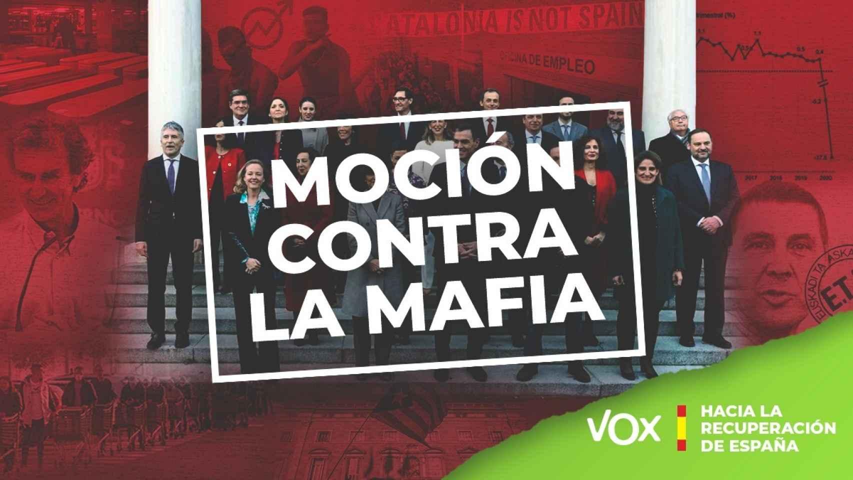 """Vox promociona la moción de censura a Pedro Sánchez: """"Contra la mafia"""""""
