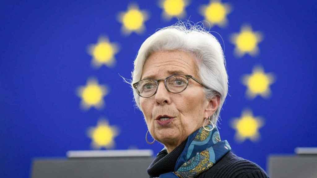 La presidenta del BCE, Christine Lagarde, durante una comparecencia ante la Eurocámara
