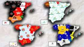Cuatro mapas por comunidades autónomas sobre las preferencias de los consumidores en cerveza, supermercados, comida rápida y marcas de coche.