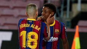 Ansu Fati celebra un gol con el Barcelona
