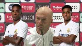 Vinicius Junior, Zinedine Zidane y Rodrygo Goes en un fotomontaje