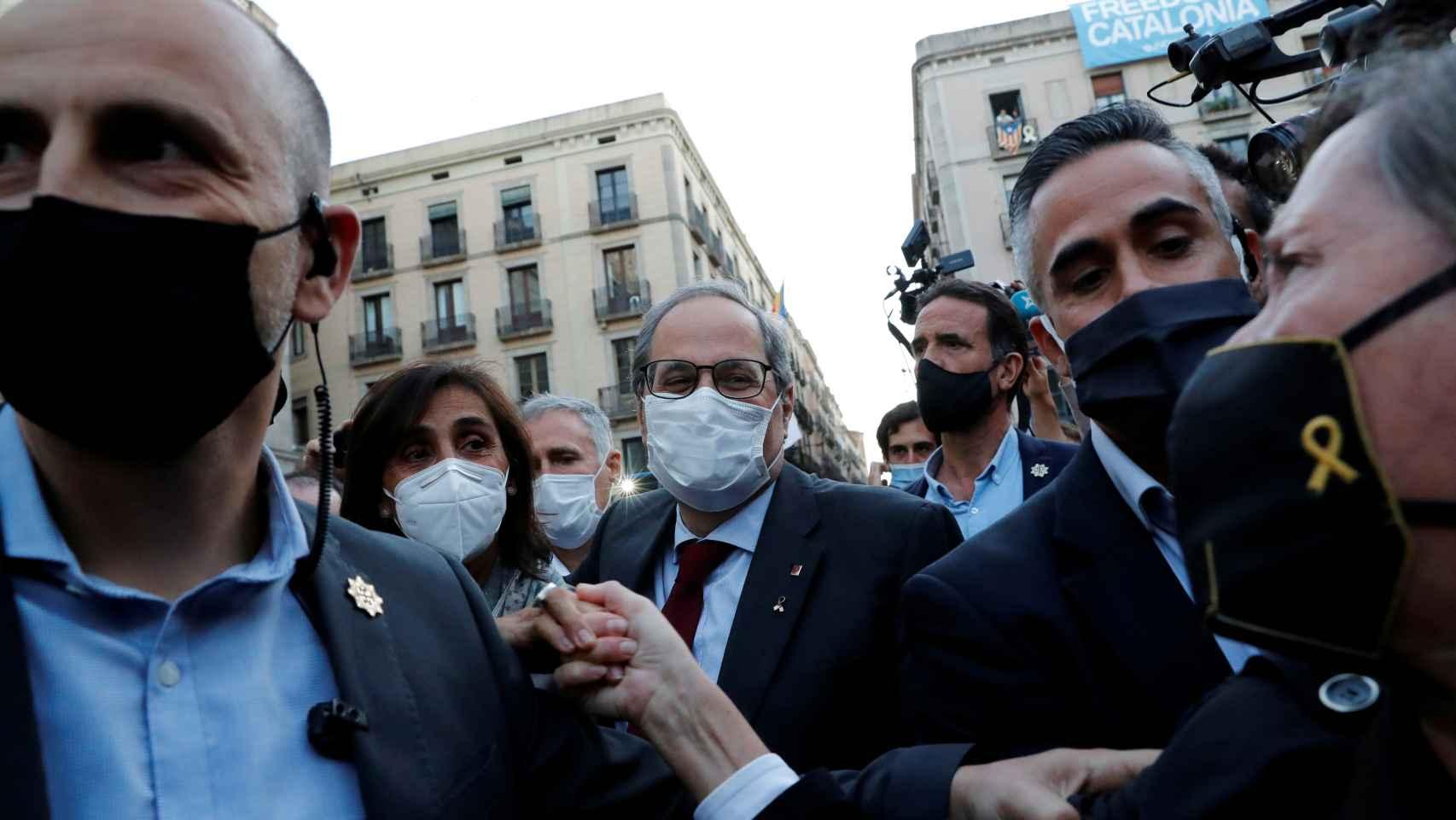 Disturbios en Barcelona en el último día de Quim Torra como president