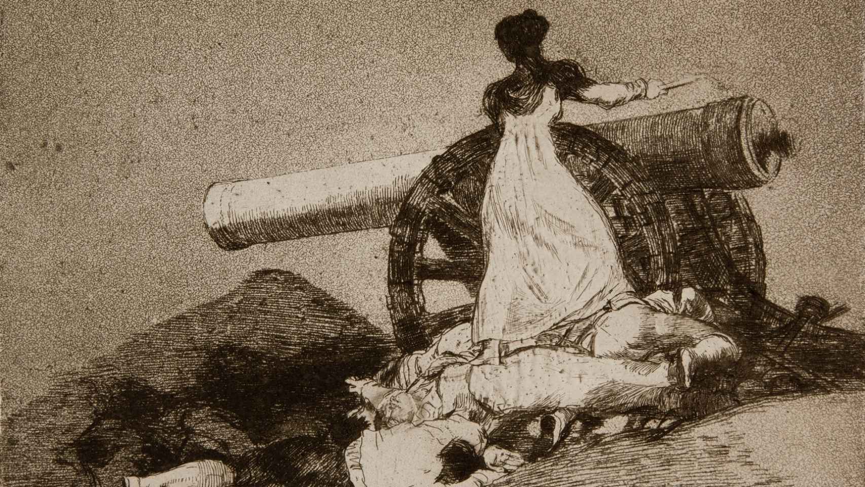 Grabado de Goya titulado '¡Qué valor!'.