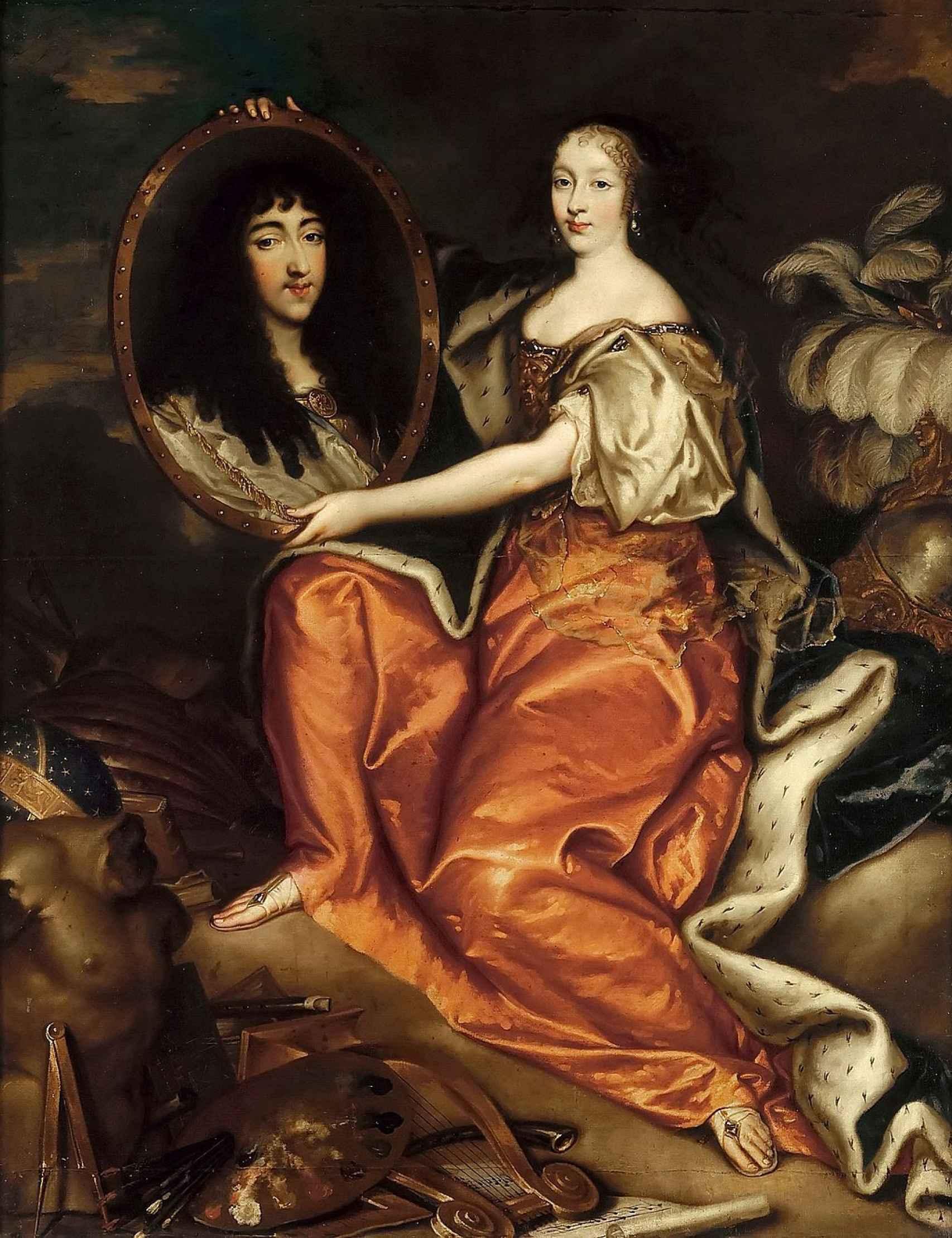 Enriqueta de Inglaterra sostiene una pintura de Felipe de Orleans.
