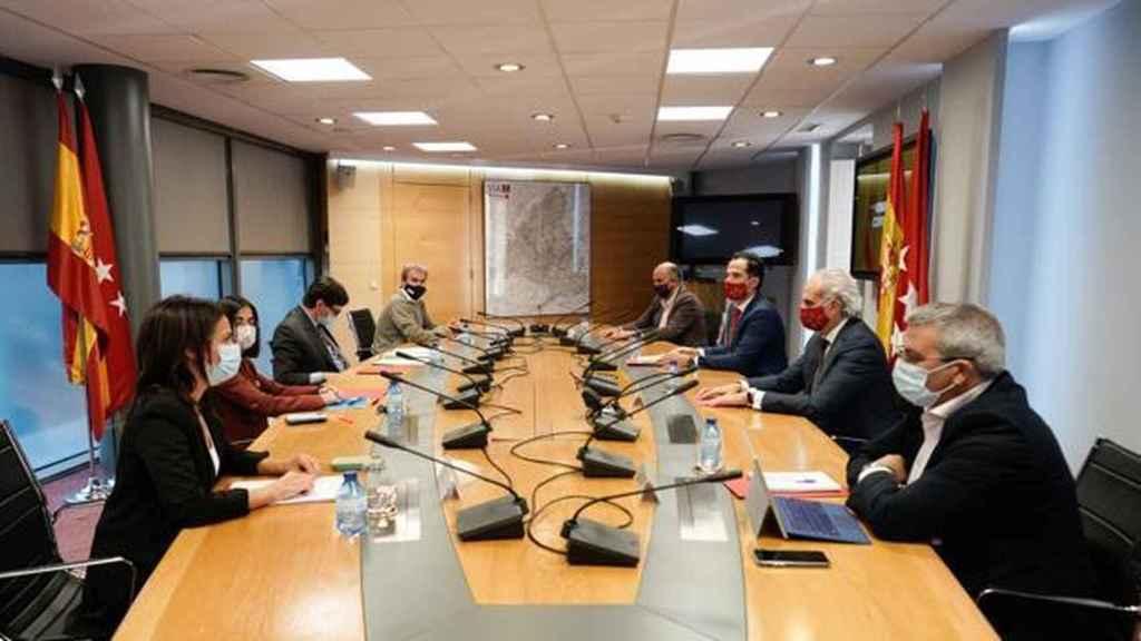 Imagen de la reunión entre la Comunidad de Madrid y el Ministerio de Sanidad este martes.