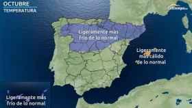 Anomalías de temperaturas previstas para octubre según eltiempo.es.
