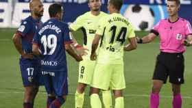 Marcos Llorente, jugador del Atlético de Madrid, durante un parón ante el Huesca