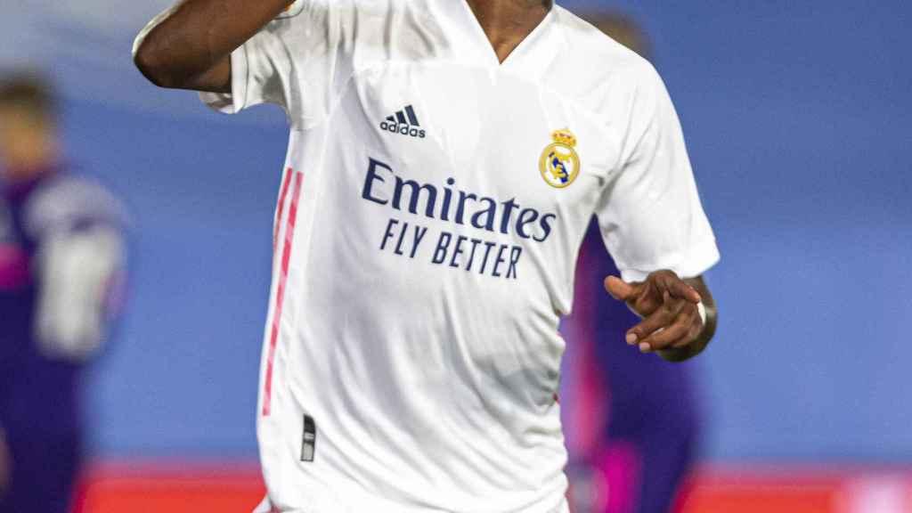 Vinicius celebra su gol al Real Valladolid