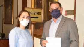 Alejandra Hernández y Manuel Fernández, este miércoles en la Diputación de Toledo