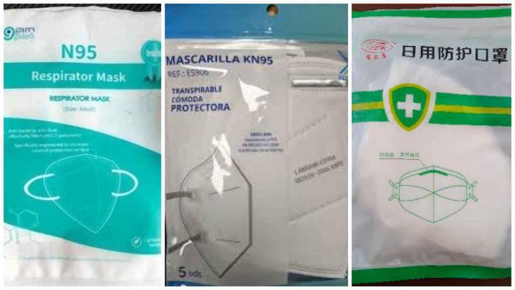 Tres tipos de mascarillas retiradas del mercado por no cumplir las condiciones sanitarias requeridas.