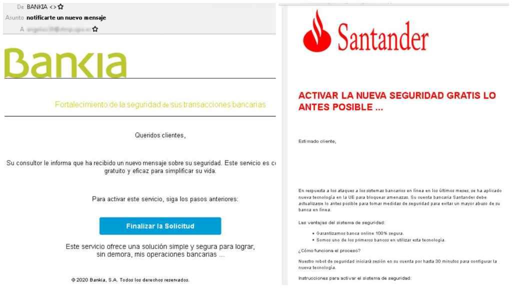 Imagen de los correo falsos de Bankia y el Banco Santander que tienen como fin robarle sus credenciales y su información bancaria.