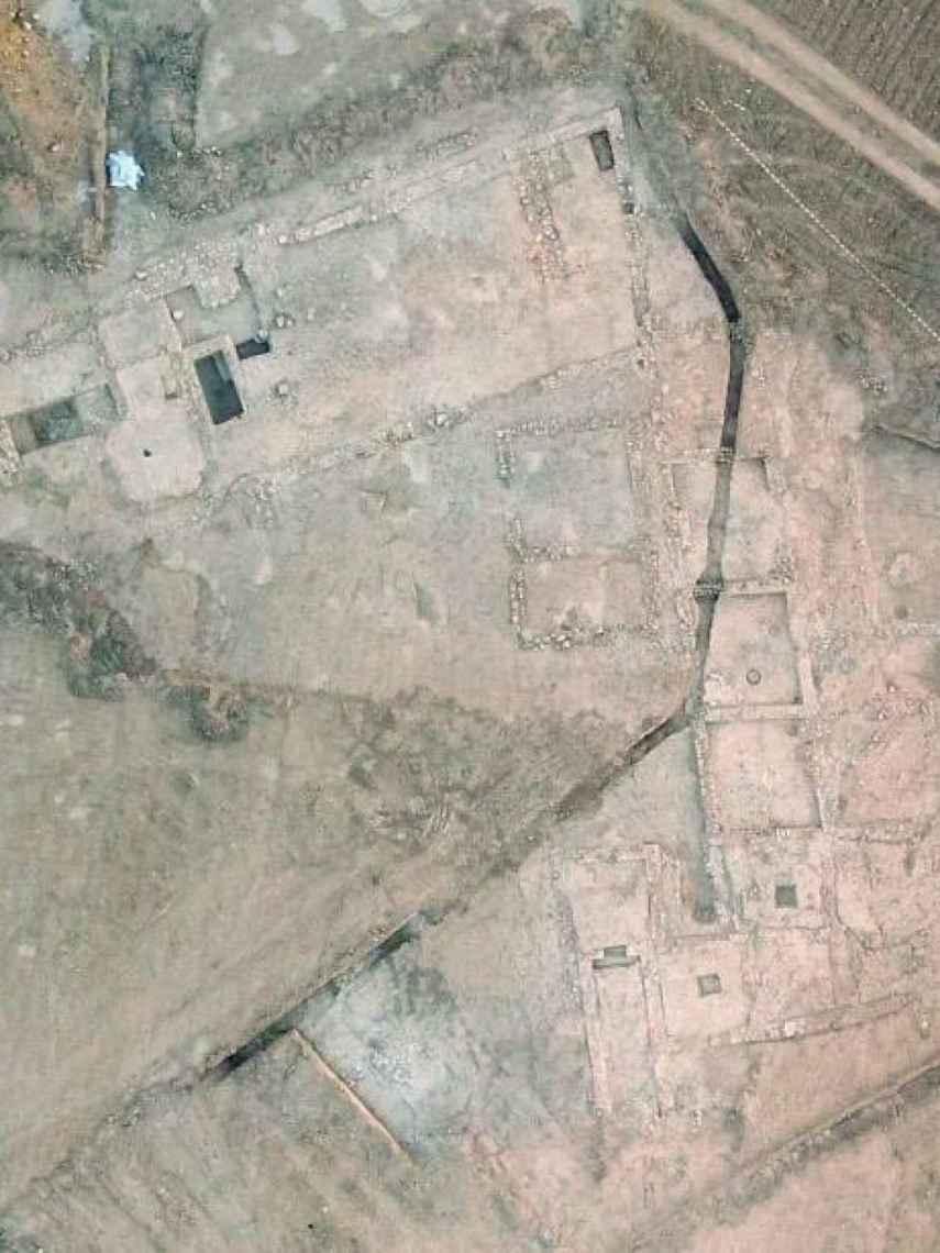 Vista aérea del yacimiento romano de Valdepeñas.