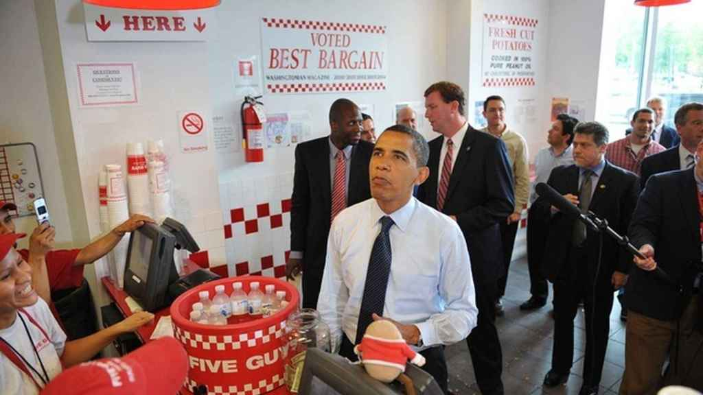 Barak Obama en Five Guys.