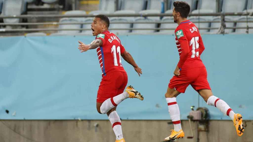 Machís celebra su gol con el Granada