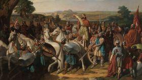 'El rey don Rodrigo arengando a los jefes de su ejército antes de dar la batalla del Guadalete', un cuadro de Bernardo Blanco y Pérez.