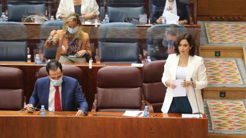 La presidenta de la Comunidad de Madrid, Isabel Díaz Ayuso, este jueves en la Asamblea de Madrid. Efe
