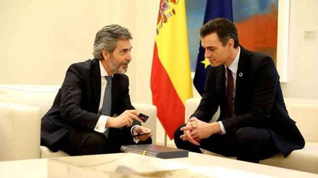 Carlos Lesmes y Pedro Sánchez en una foto de archivo./