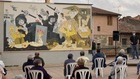 Mural con la versión independentista del 'Guernica' en Moyá, Barcelona.