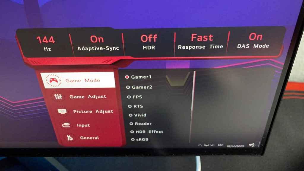 El menú del LG 27GN950 permite activar muchas cosas, como HDR