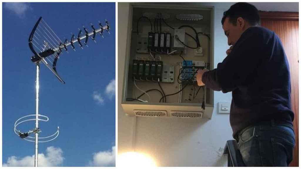 A la izquierda, una antena; a la derecha, Patricio Alda, uno de los antenistas que las readaptan para la ejecución del Segundo Dividendo Digital.