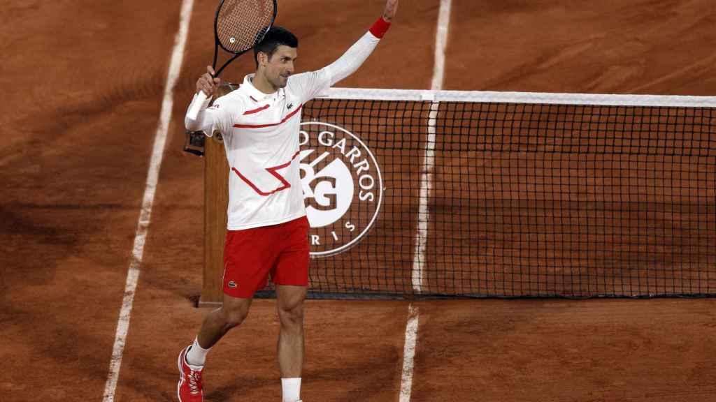 Djokovic celebra su victoria ante Galán