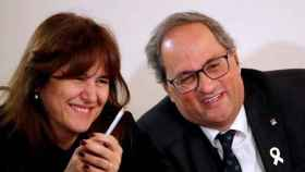 La diputada Laura Borràs junto al expresidente catalán Quim Torra en una imagen de archivo.