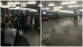 Una imagen de Atocha en la tarde de este viernes y otra de la mañana de este sábado.