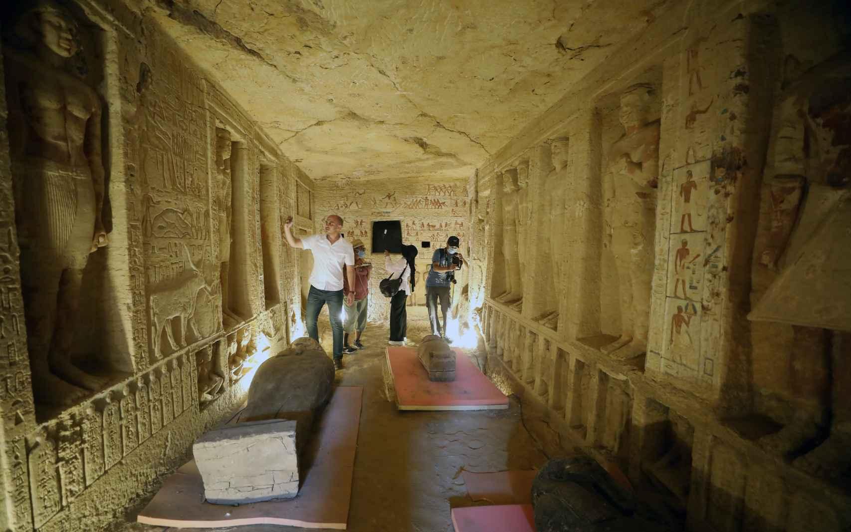 Vista del nuevo pozo funerario de la necrópolis de Saqqara, a unos 50kms al sur de El Cairo.