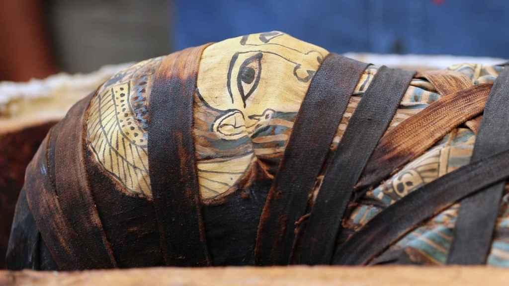 Primer plano de una de las momias recién sacadas a la luz en Saqqara.