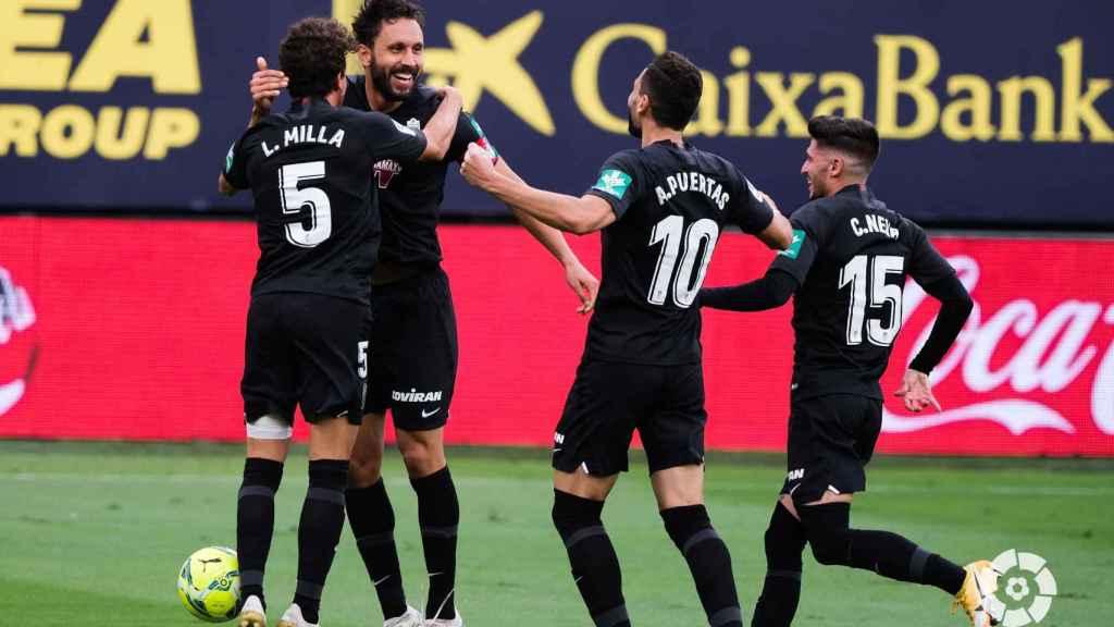 El Granada celebra el gol de Germán