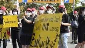 Protesta de trabajadores de Continental en Alemania.