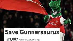 La mascota del Arsenal, Gunnersaurus, y el crowdfounding