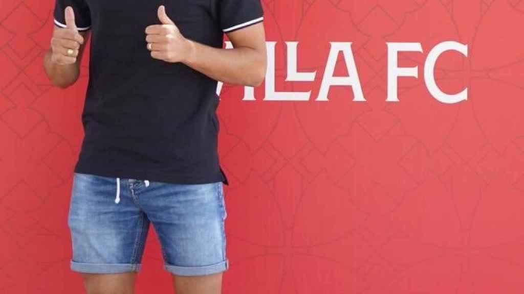 Óscar Rodríguez, en su presentación con el Sevilla FC