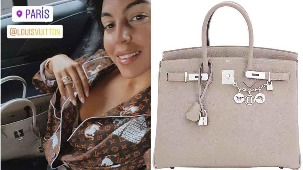 Georgina Rodríguez con bolso Birkin de Hermès.