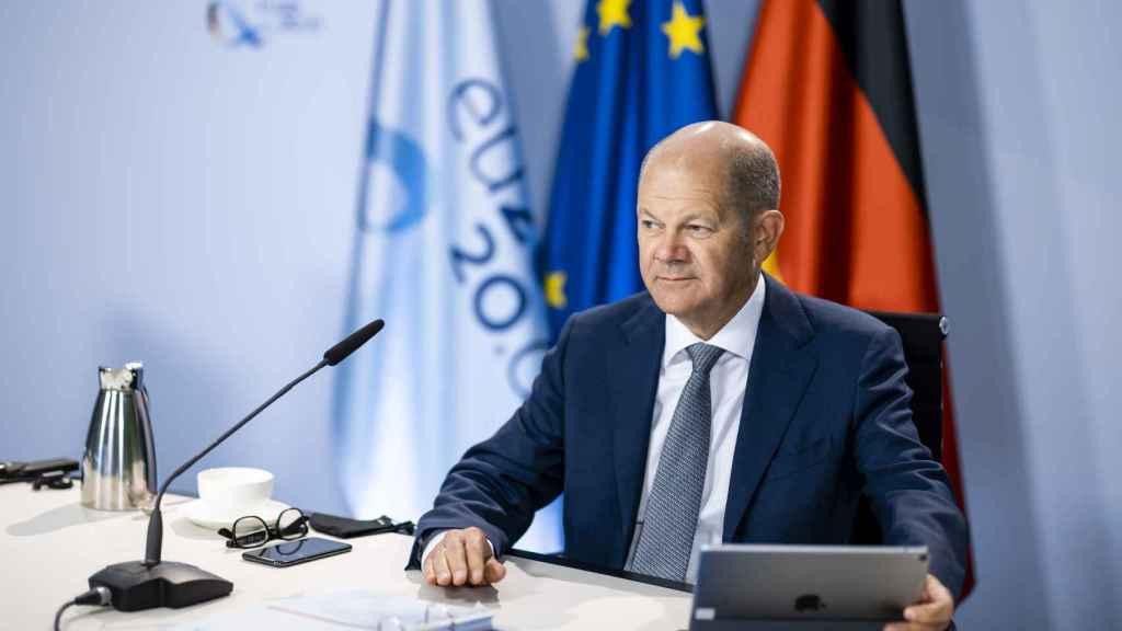 El presidente del Ecofin, Olaf Scholz, durante la videoconferencia de este martes