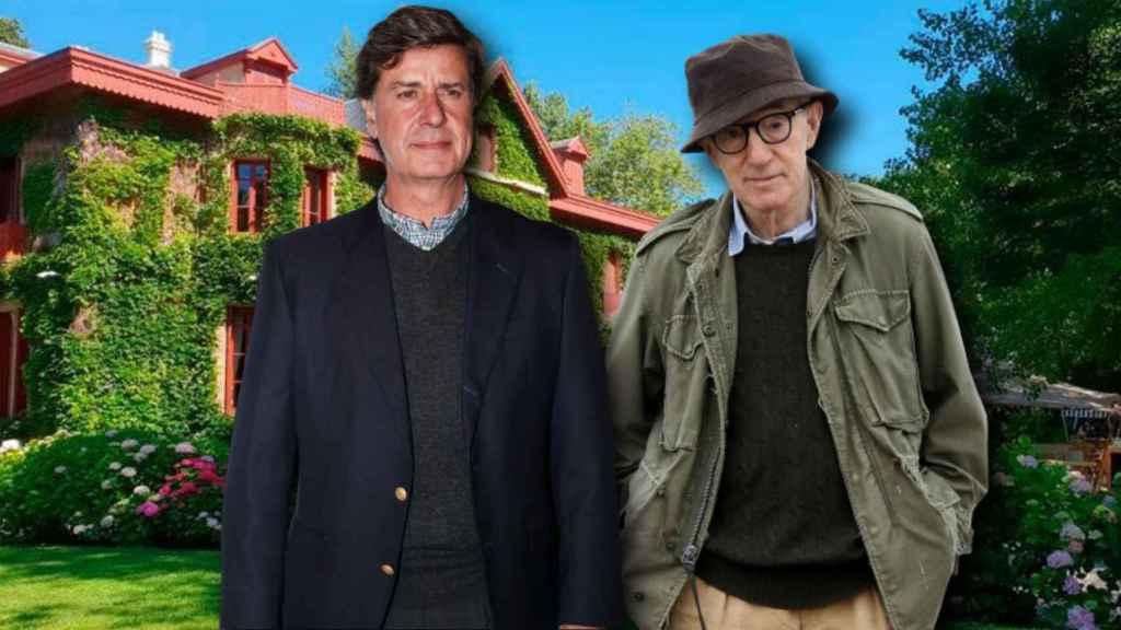 Cayetano Martínez de Irujo y Woody Allen con el palacio de Arbaizenea de fondo en un montaje de Jaleos.