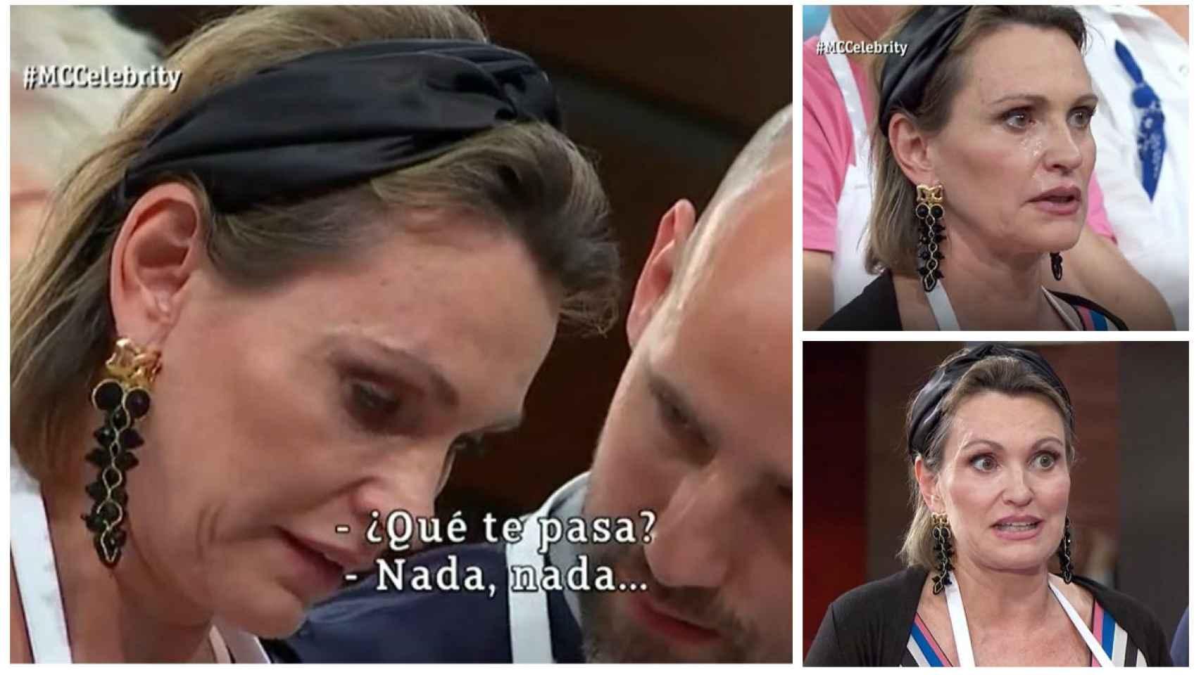 Ainhoa Arteta en tres momentos de la noche en 'MasterChef Celebrity'.