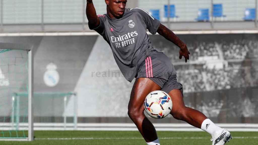 Vinicius Júnior, durante un entrenamiento del Real Madrid