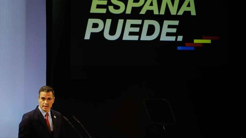 El presidente del Gobierno, Pedro Sánchez, en un acto para presentar 'España Puede'.