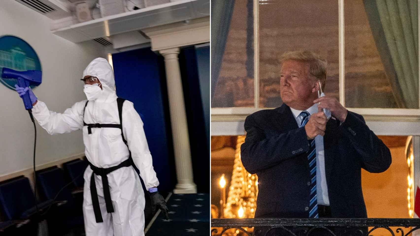 A la izquierda, operarios desinfectan la Casa Blanca; a la derecha, Donald Trump, aún contagiado, se quita la mascarilla.